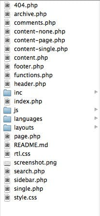 The folder that comes with Underscores, a starter theme for WordPress.